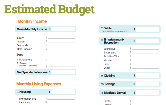 Estimated Budget Worksheet